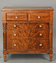 Empire mahogany two over three drawer chest with cherry top, circa 1840, ht. 45in.; wd. 43in.; dp. 22in.