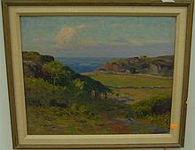 """Samuel Edwin White (1860-1922) Oceanside landscape oil on board signed lower left S. E. Whiteman, 16 1/2"""" x 20 1/2""""."""