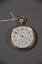 Waltham 14K gold open face pocket watch, 70 grams total weight.
