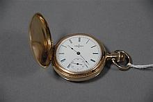 Elgin 14K gold closed face pocket watch, 65 grams total weight.