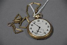 Illinois 14K gold open face pocket watch, 56 grams total weight.