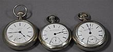 Three silveroid large open face pocket watches.