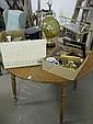 Maple kitchen table, two bathroom glass shelf (one