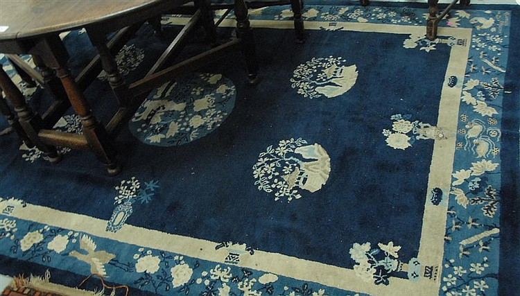 Two Chinese Oriental Rugs Wear 6 X 8 8 And 4 X 6 8