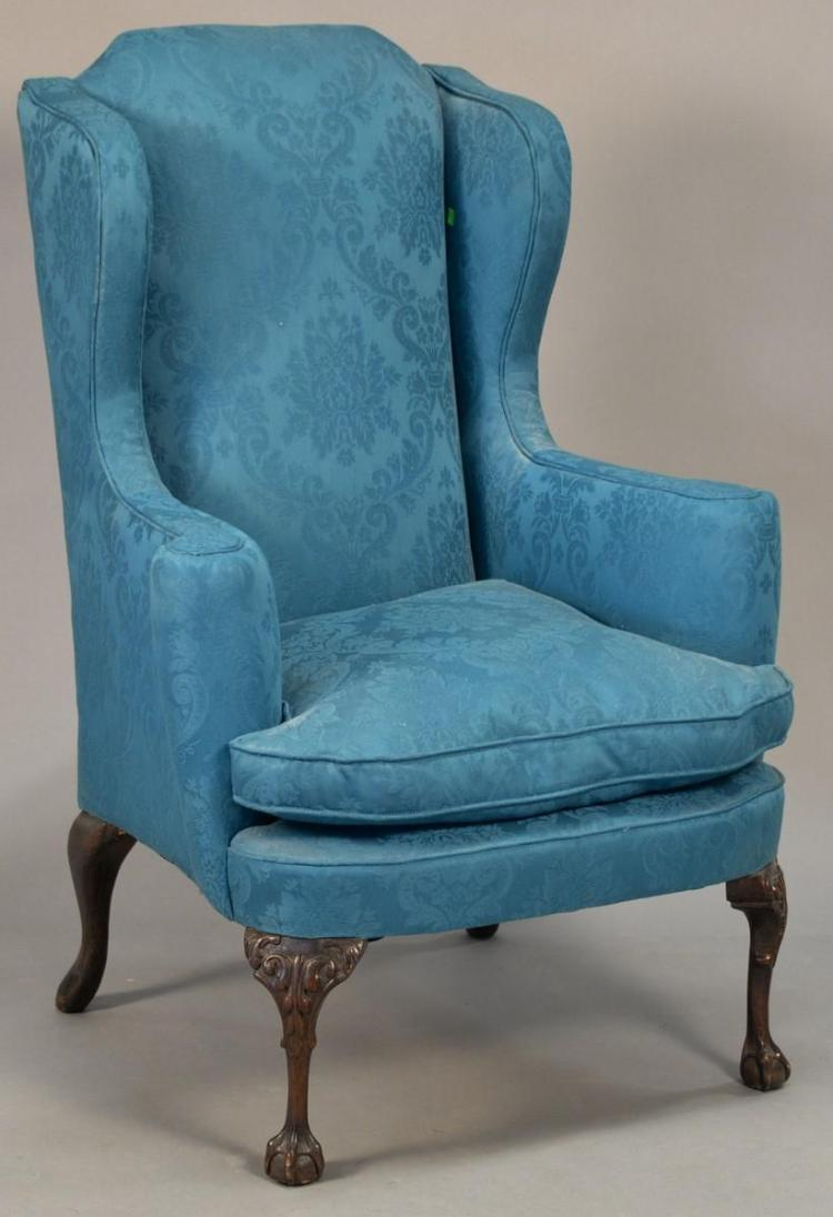 Chippendale style upholstered wing chair for Styles of upholstered chairs
