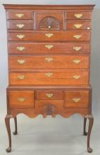 Queen Anne cherry highboy in two parts, 18th century top with lower section made to match. ht. 65in., wd. 38in., dp. 19in.