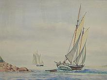 John Leavitt (1905-1974) watercolor Schooner heading out to sea, John & Susan markhead, signed lower right John Leavitt, sight size ...