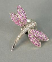 Dragonfly 14K white gold pin set with diamonds and pink stones, marked B.H.