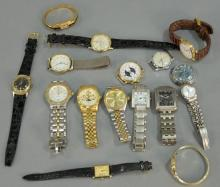 Group of 16 wristwatches, mostly mens.