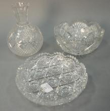 Three cut glass pieces to include Gundy Clapperton cut glass bowl having shamrock mark with C.G. Co. inside (ht. 3 3/4in., 7 3/4in.)...