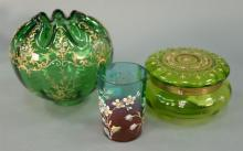 Three enameled glass pieces to include Fenton glass with enameled flowers, enameled green glass box (Possibly Moser), and an enamele...