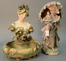 Two porcelain figures including Royal Dux Bohemia figure of a woman with a parasol (ht. 17in.) and an Art Nouveau bust of a girl fig...