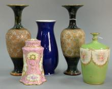 Five porcelain pieces to include Dresden porcelain covered jar (ht. 6in.), Royal Bonn gilt decorated vase, pair of Doulton Slaters g...