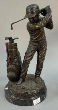 C. Keliem bronze statue of golfer mounted on stone base, ht. 17in.
