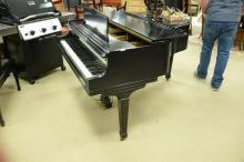 Wm. Knabe ebonized baby grand piano and bench, lg. 60in.
