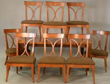 Hickory inlaid dining table and eight chairs, top: 46