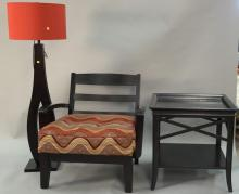 Three piece lot to include armchair, table, and floor lamp. table: ht. 27in., top: 28