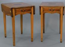 Three piece lot to include a pair of inlaid burlwood Pembroke drop leaf tables and a Council mirror (as is). table ht. 29 1/2in., mi...