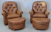 Bradington Young pair of leather upholstered Rockwell 8 way comfort loungers/chairs and ottomans.