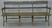 Two piece lot to include a Windsor bench with old green paint circa 1840 (lg. 71in.) and mahogany drop leaf gate leg table (ht. 29in...