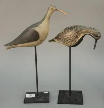 Two painted shore birds, nicely painted black and white with glass eyes along with a black and white with carved tail and wing (repl...