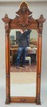 Victorian walnut pier mirror. ht. 84in., wd. 34in.