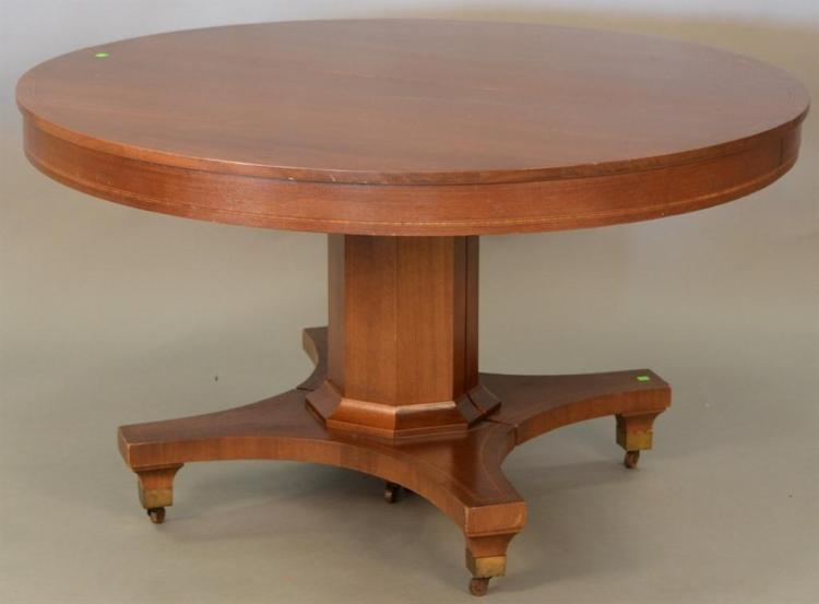 Lot 57 Round Mahogany Pedestal Dining Table With Four Leaves Dia