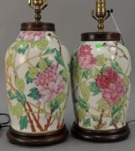 Pair of Chinese jars made into table lamps, vase ht. 12in.