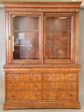 Ethan Allen breakfront having sliding glass door top over burlwood base with drawers, ht. 92in., wd. 68in., dp. 19in.