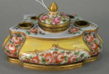French porcelain bronze mounted inkwell, 19th century ormolu, mounted bronze and hand painted flowers. ht. 3 1/2in., wd. 6in.