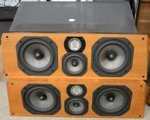 Pair of Legacy audio center channel speakers. ht. 31 1/2in., wd. 10in.