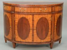 Ethan Allen inlaid mahogany demilune server with drawers and doors. ht. 36in., wd. 50in., dp. 19in.
