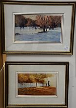 """Pair of Paul Landry (b. 1933) oil on paper paintings including """"Skating"""" and Autumn Stroll, signed lower left Paul Landry, sight siz..."""