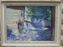 Nimetullah Gerasim (1904-1986) oil on masonite small Russian side street, signed lower left N. Gerasim 63, 19