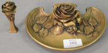 Bronze rose inkwell and seal stamp, both marked Marot. lg. 7in.