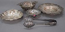 Five pieces of sterling silver to include tongs and small bowls, 13.3 t oz.