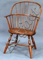 Windsor sack back armchair marked illegibly on bottom Capt. _____ 1787. seat ht. 16in.