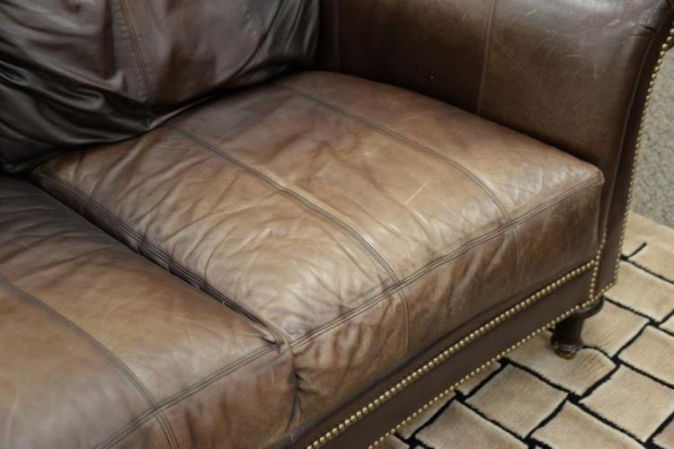 Ferguson Copeland Leather Sofa. Wd.87. 1
