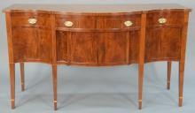 Margolis mahogany Federal style sideboard with door, drawers, and bottle drawers and inlaid edges. height 41 1/2 inches, width 72 i...