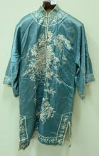 Silk embroidered robe with matching pants and vest having black ground with white and pink embroidered flowering lotus flowers and l...