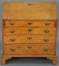 Tiger maple Chippendale desk having slat front over four drawers, set on bracket feet, 18th century.   height 41 inches, width 3...