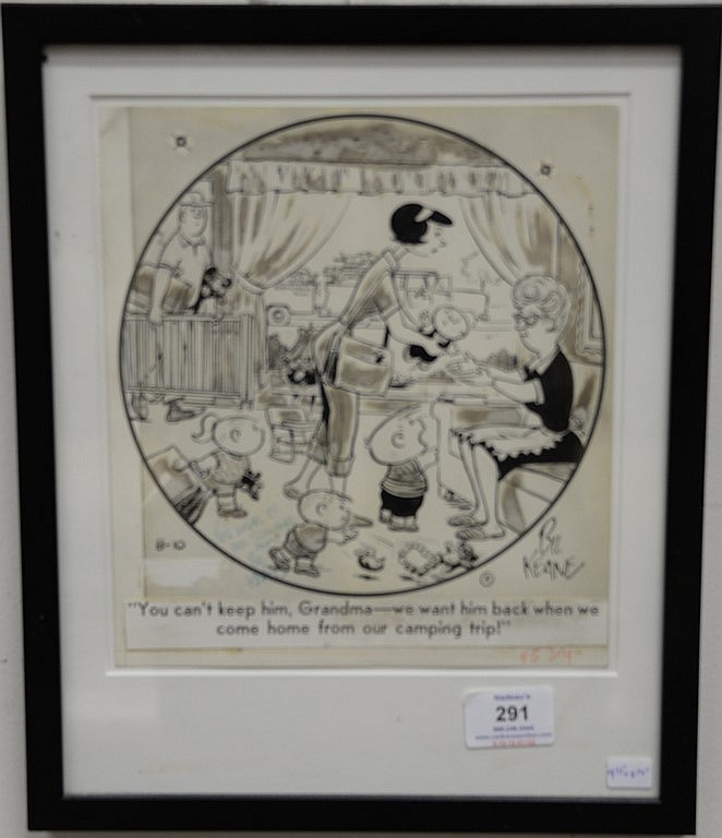 Bil Keane Family Circus original cartoon comic drawing signed by Bil Keane with letter on back from Bil Keane. 9 1/2