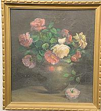 Charles Ethan Porter (1847-1923), oil on canvas, Still Life of Roses in a Vase, signed lower right: C.E. Porter, 18