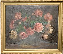 Charles Ethan Porter (1847-1923), oil on canvas, Still Life of Peonies and Roses in a Large Vase, signed lower right: C.E. Porter, (...