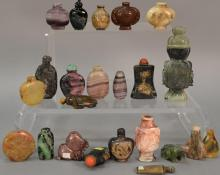 Collection of twenty-three hardstone and quartz snuff bottles to include stipple green, tiger eye, amethyst, agate, etc.