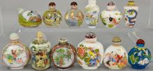Twelve enameled glass and porcelain snuff bottles.  ht. 2 1/2in. to 3 1/4in.