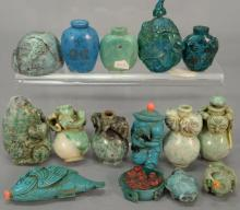 Fifteen turquoise and hardstone snuff bottles.  ht. 1 1/2in. to 2 1/2in.
