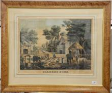 """Patrick Farrel, colored lithograph, Farmer's Home, published by Patrick Farrel, 20"""" x 25 1/2in. Provenance: Property from Credit Sui.."""