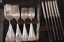 Set of sterling forks, six sterling weighted handled knives, silverplated forks and knives, 15.3 weighable silver.