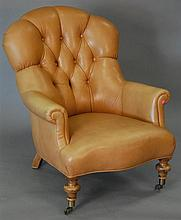 Leather upholstered easy chair.